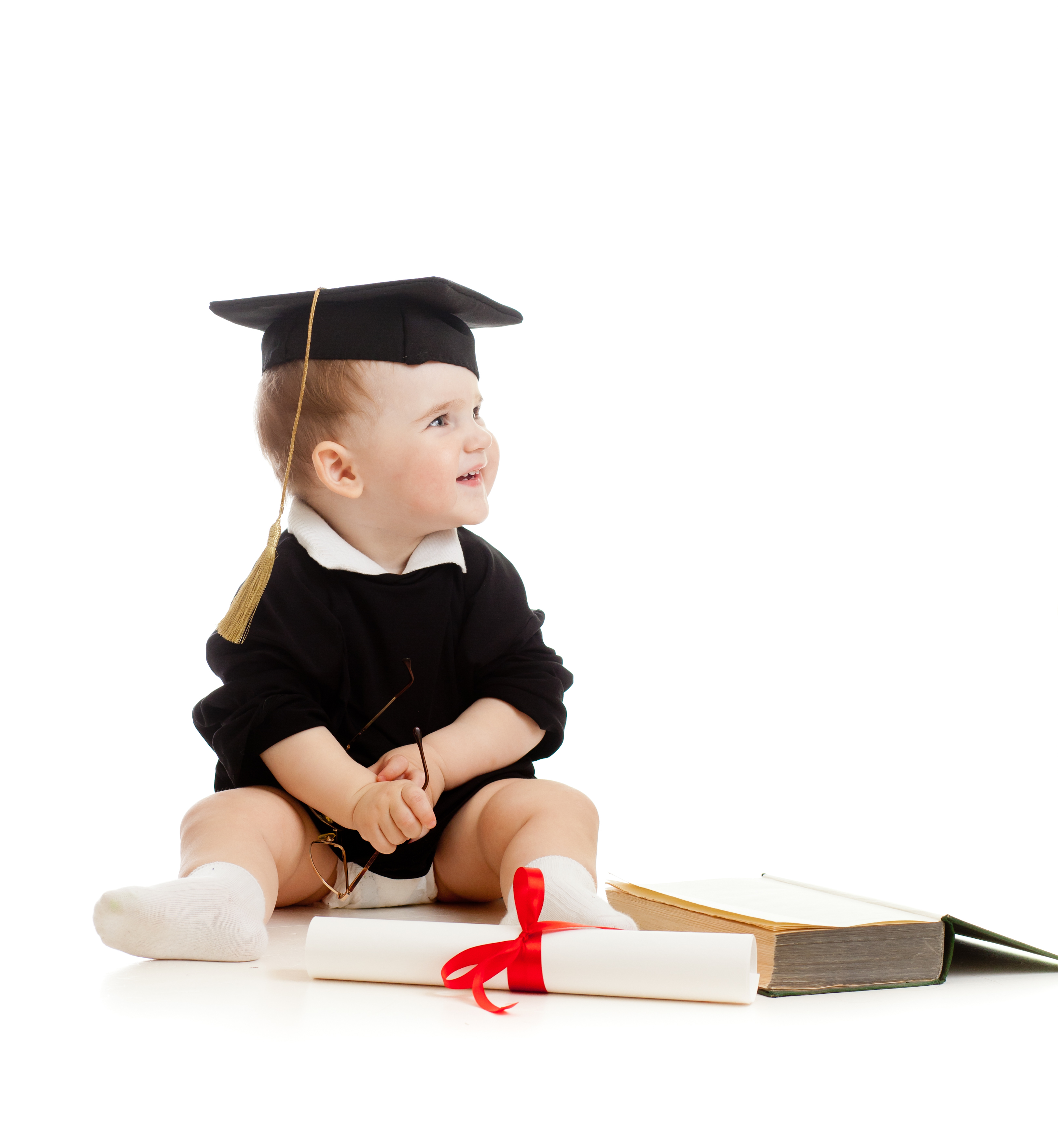 Baby with graduation items