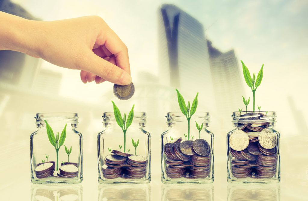 a concept art of a man nurturing financial growth