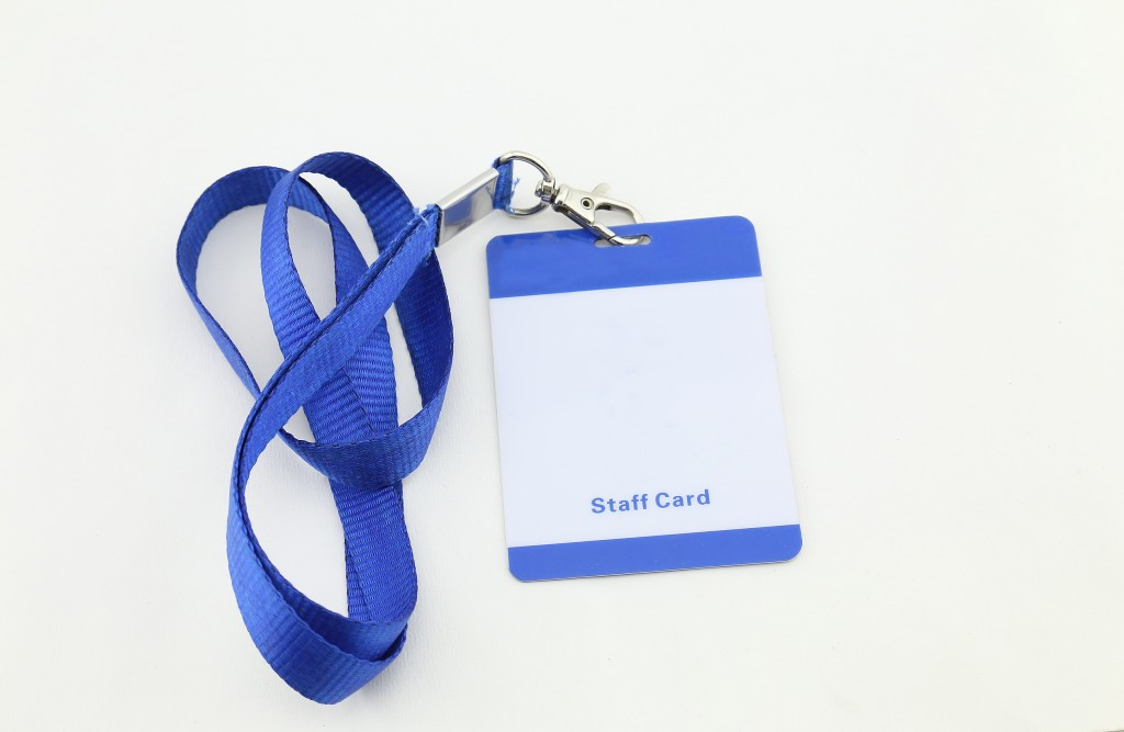 blank ID card for staff, with blue lanyard