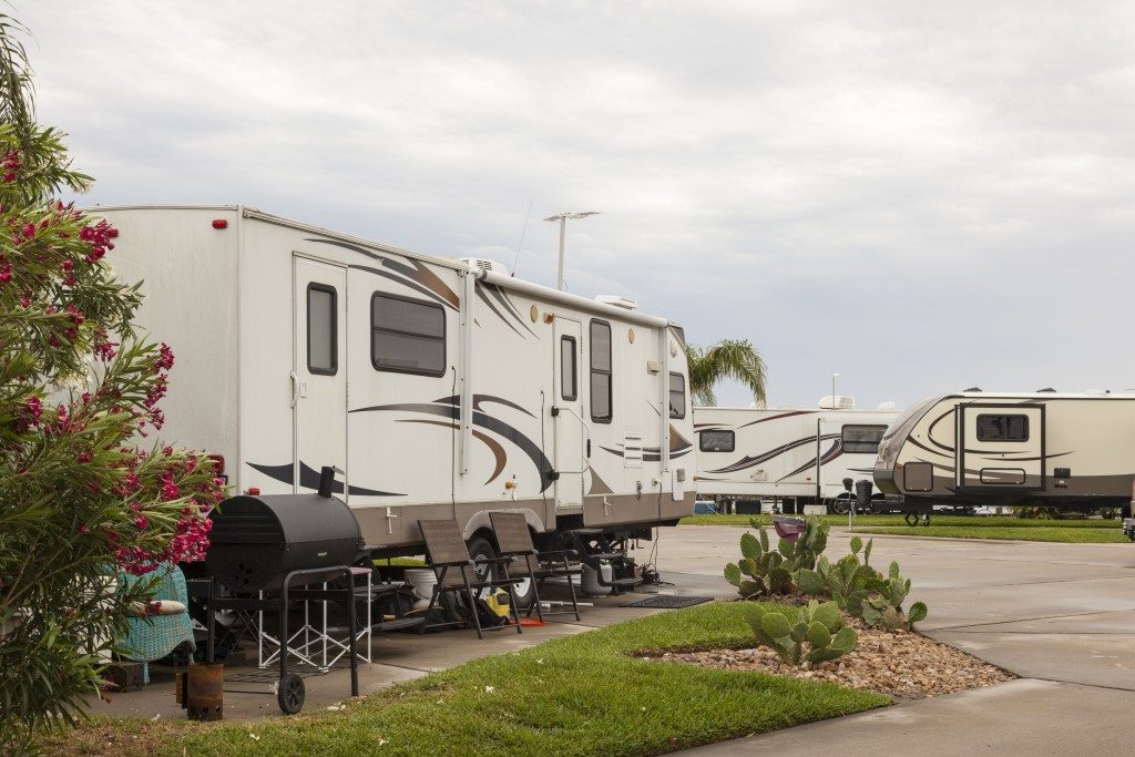 Recreational vehicles at a campsite