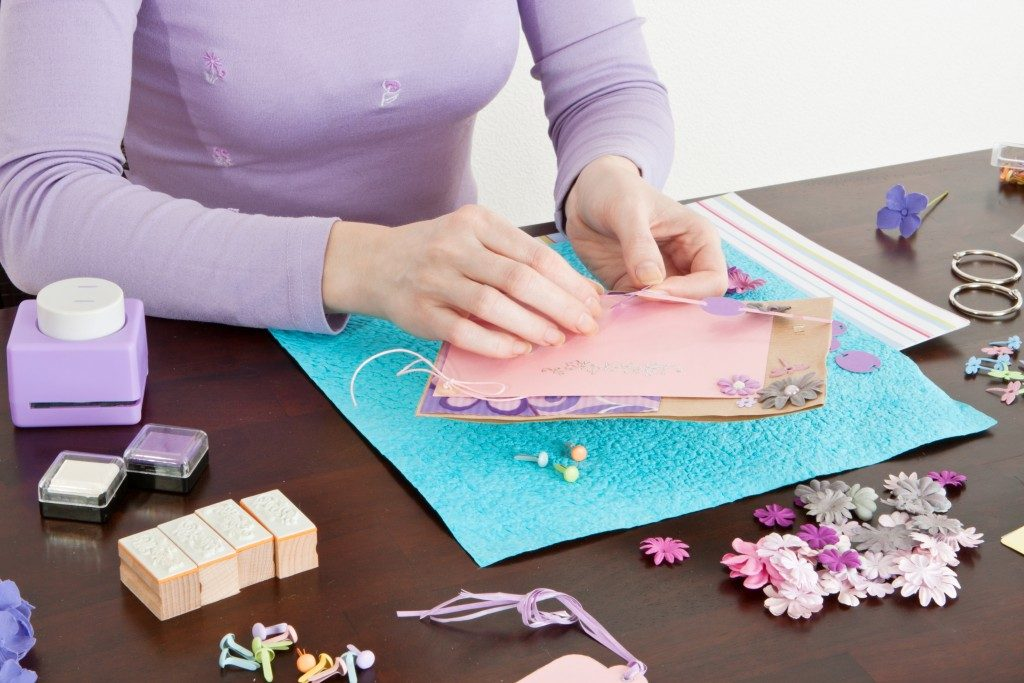 woman crafting her gift