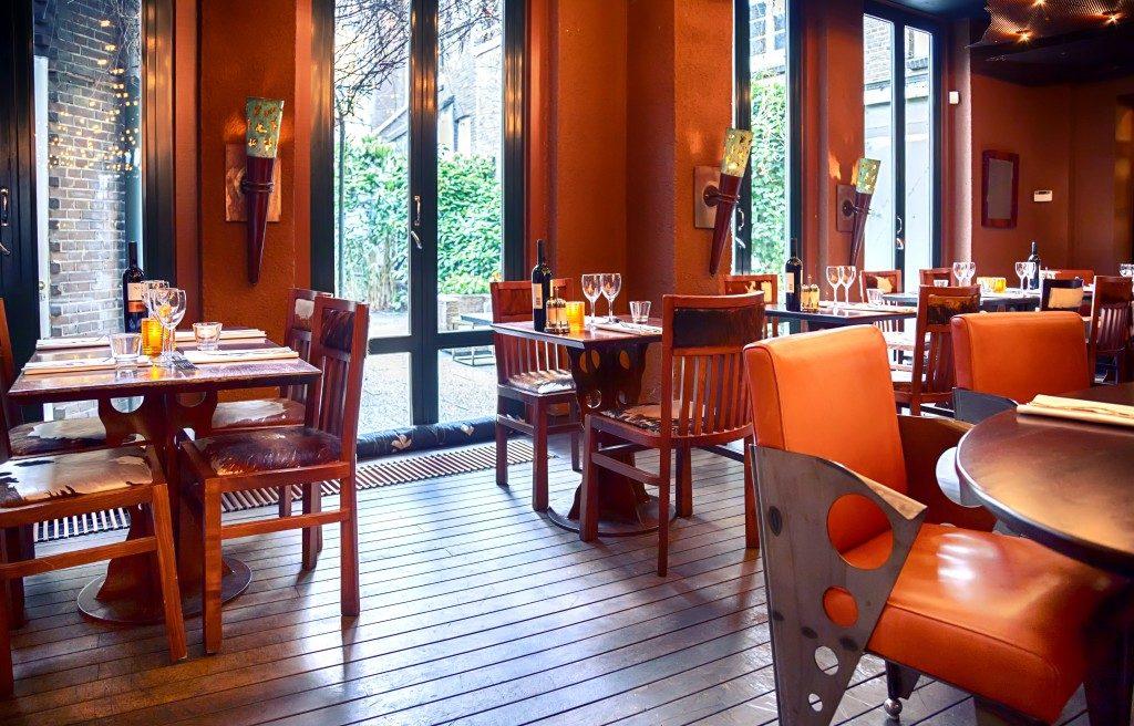 empty evening restaurant interior