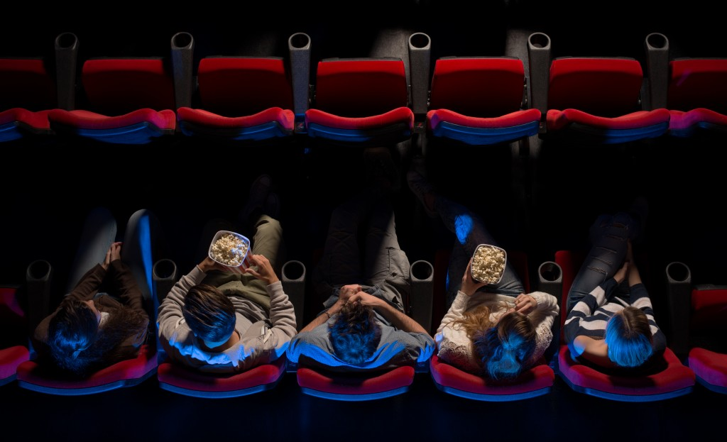 People watching in a film theatre