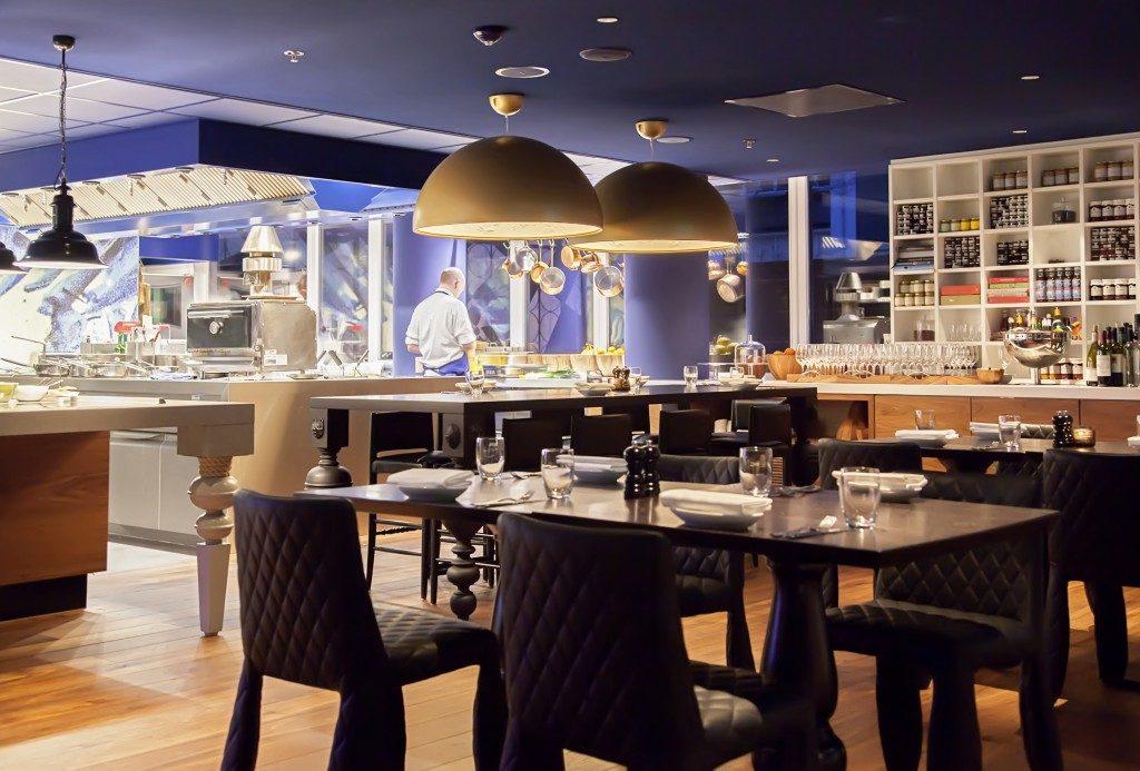 modern Amsterdam's restaurant with open kitchen