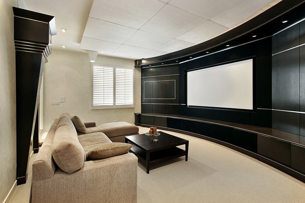 Luxury home theater with sectional sofa