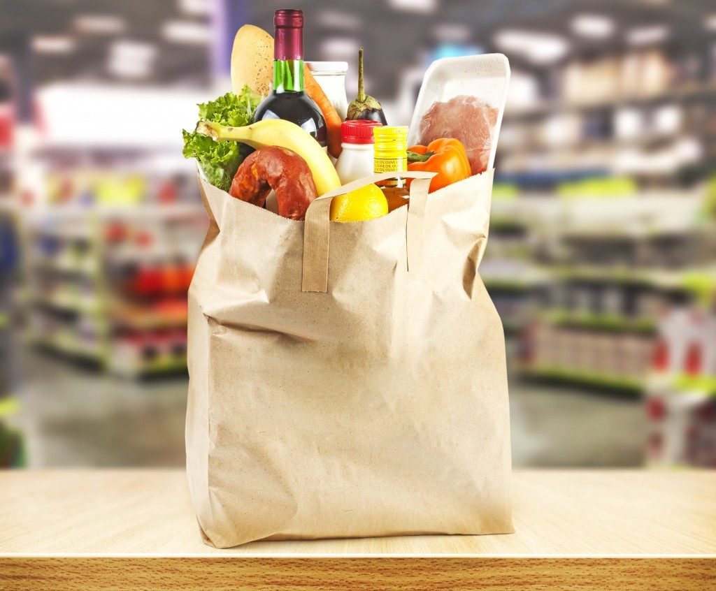 supermarket and bag with products