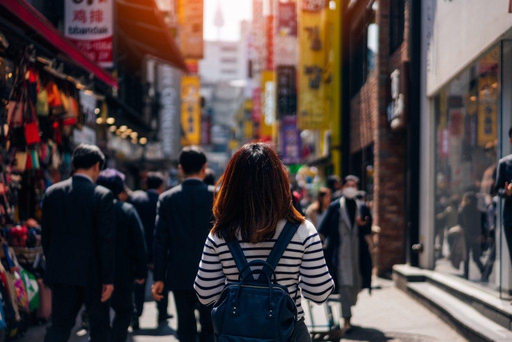 Busy shopping street in South Korea