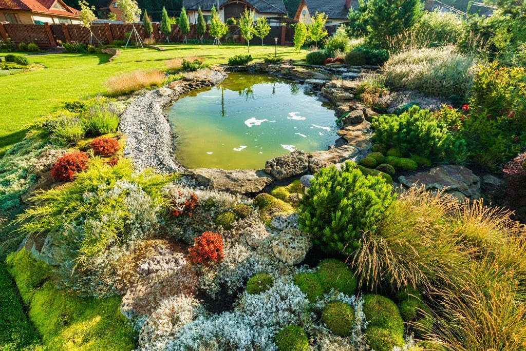 Zen garden in backyard