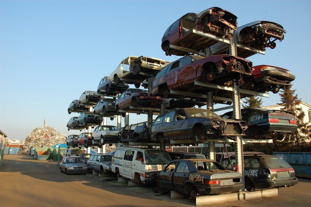 Car scraps in a junkyard
