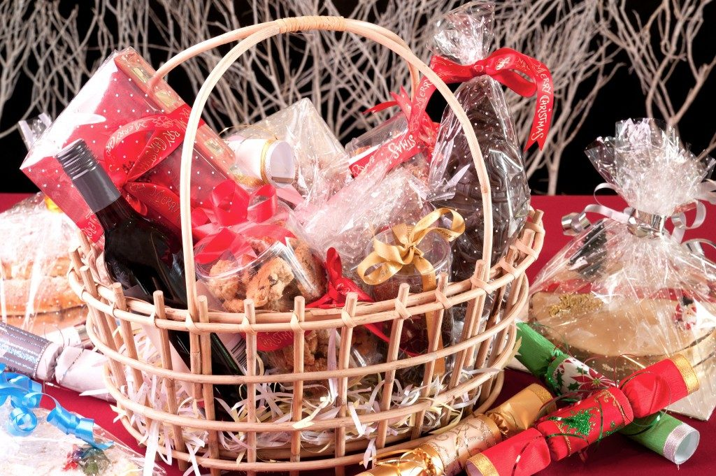 Christmas hamper basket with a chocolate