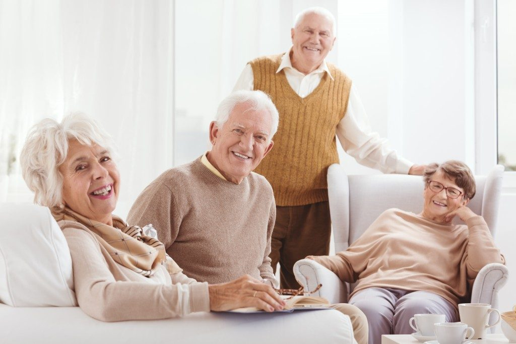 seniors in a nursing home talking