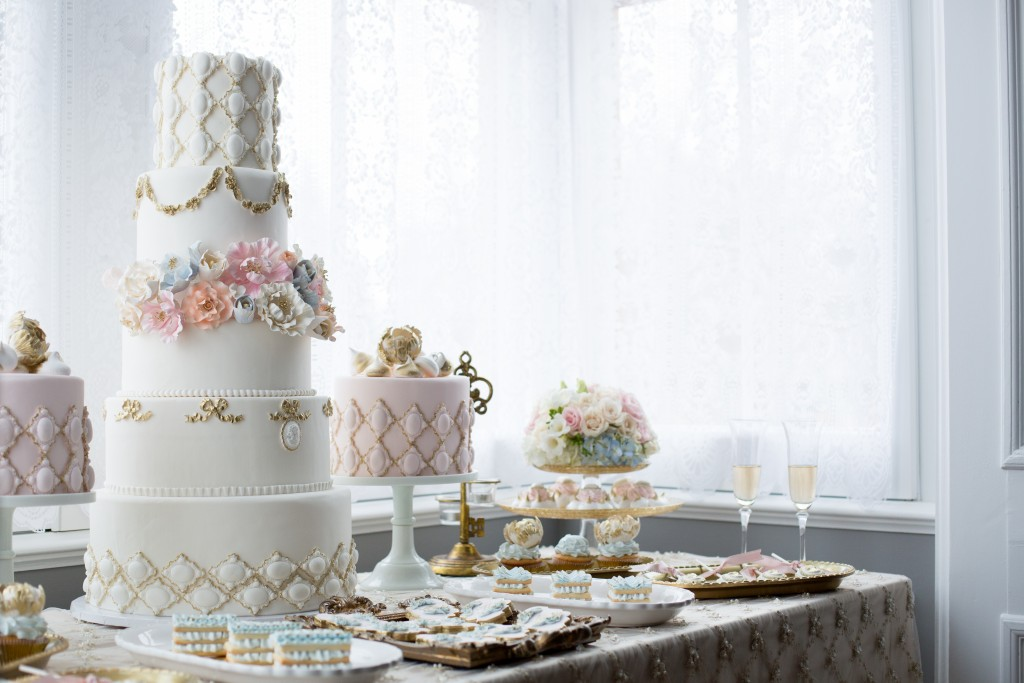 beautiful cakes and buffet set-up for wedding