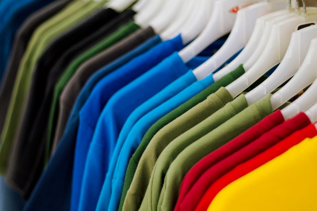 colored shirts hanged