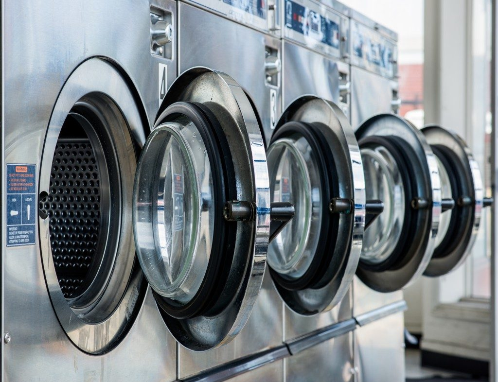 Washing machines in laundry shop