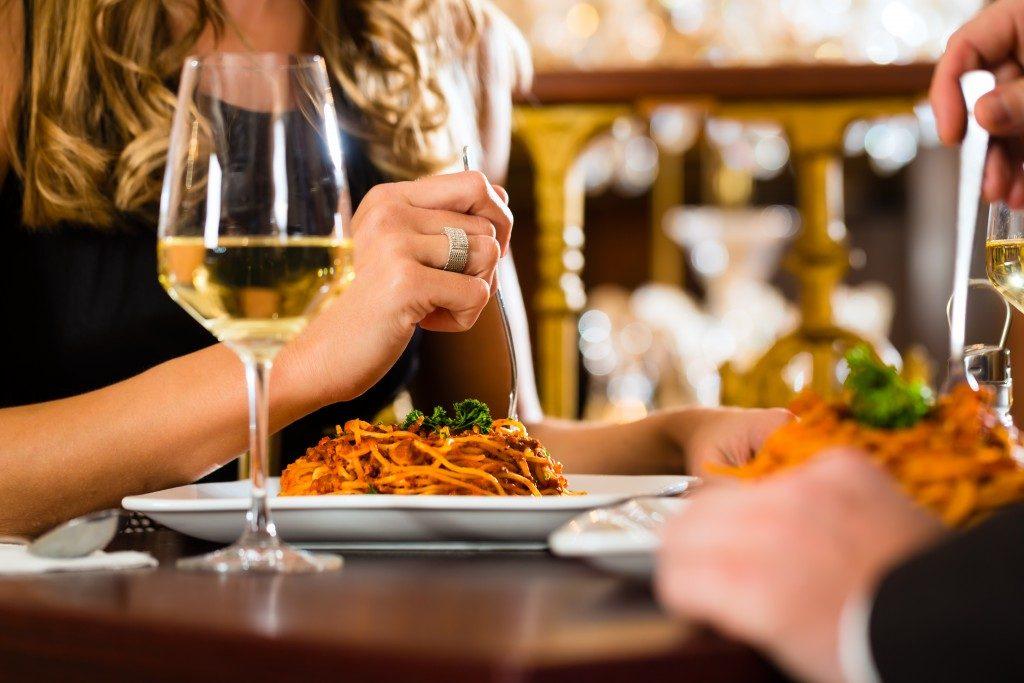 Date in a fine dining restaurant