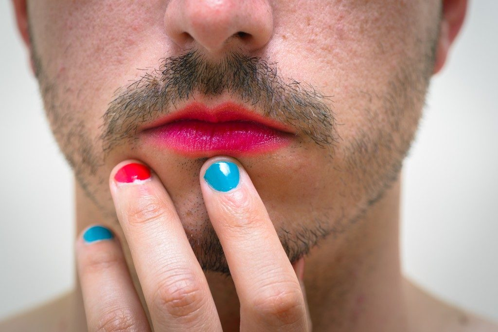 man with lipstick