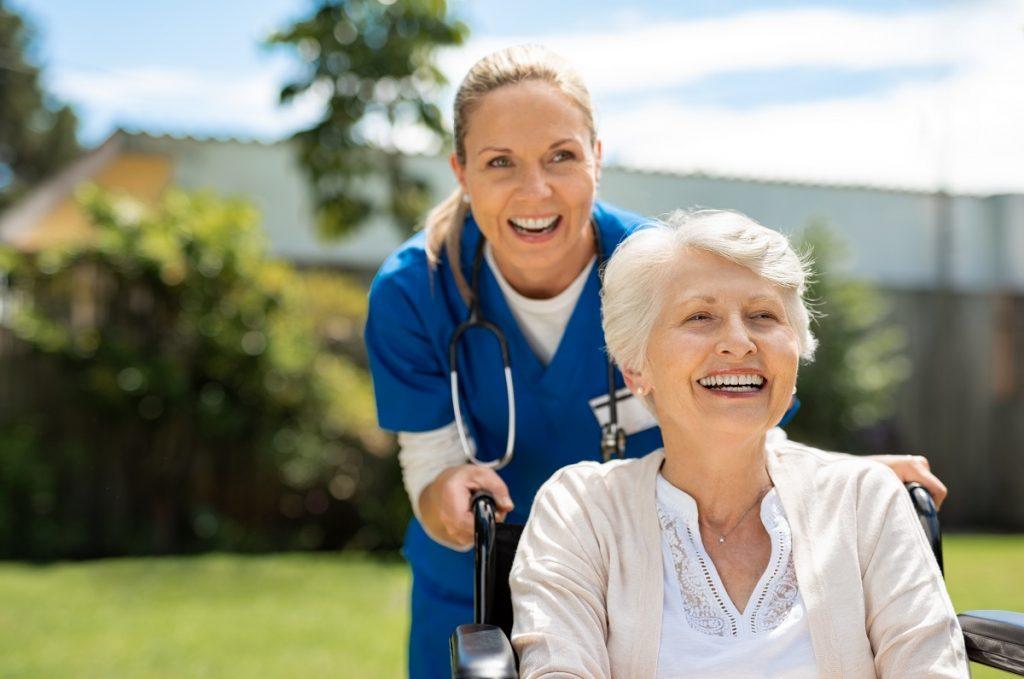 nurse taking care of senior