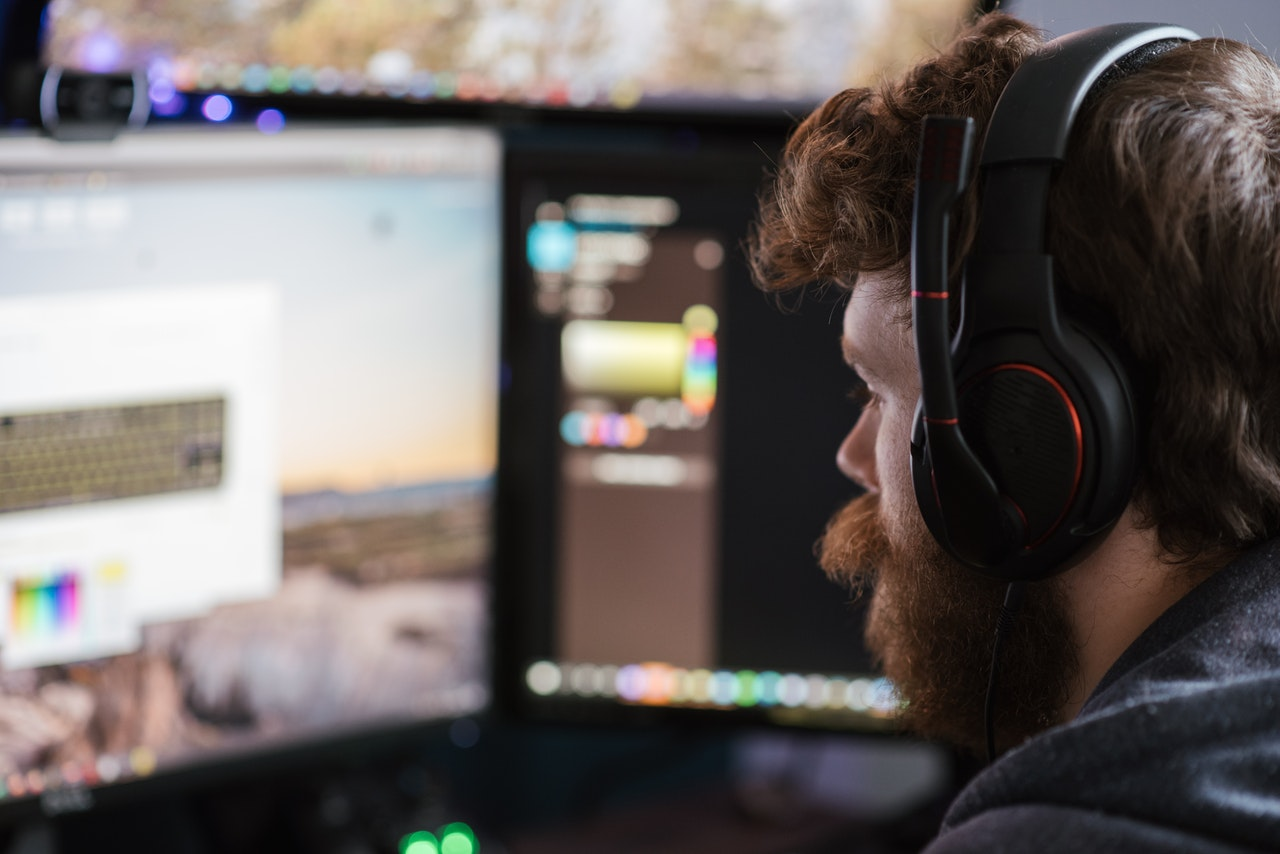 video editor working