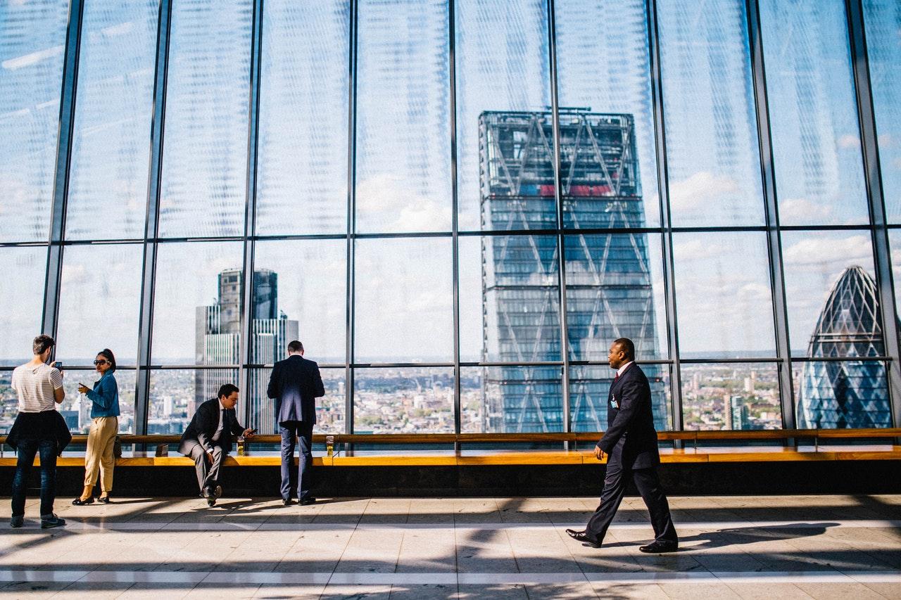 man walking in a city