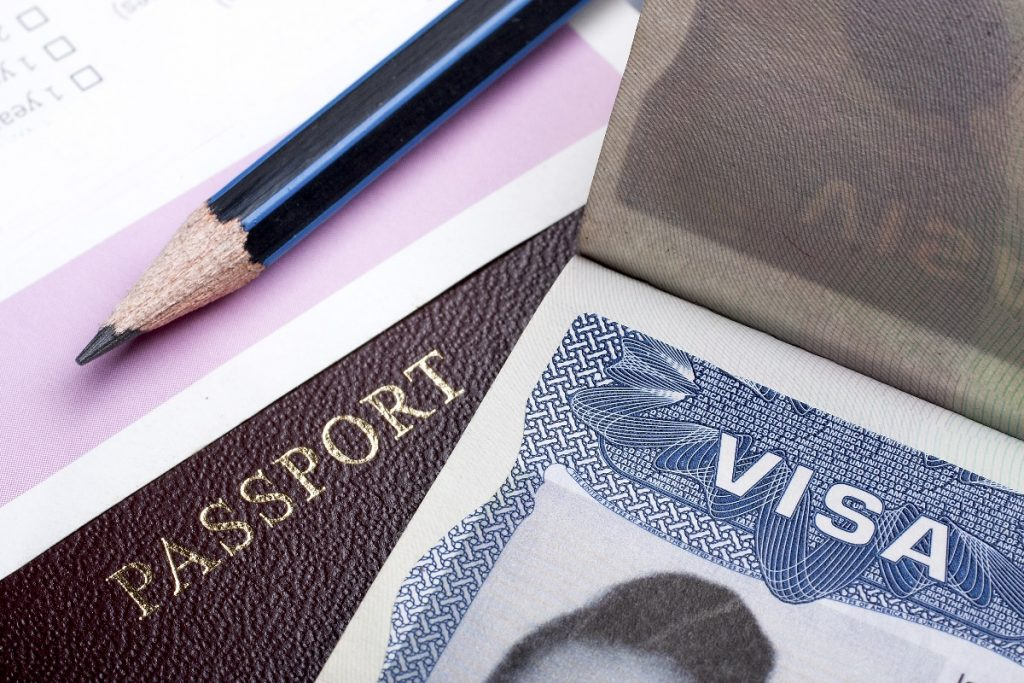 passport and a pencil