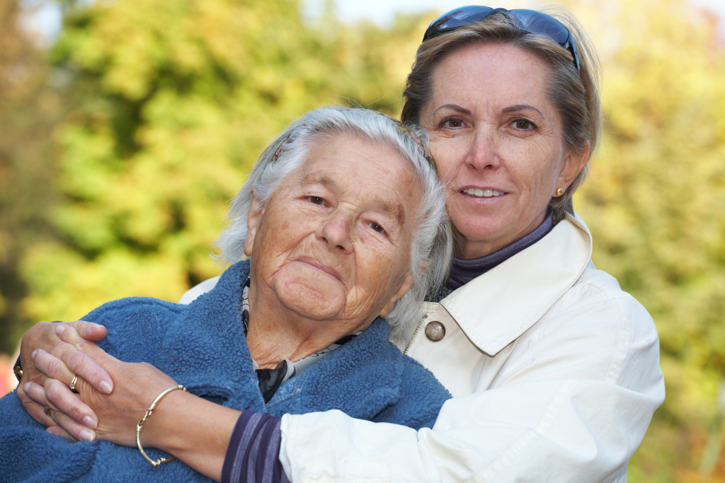 middle aged woman with her mother